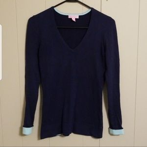 Lilly Pulitzer Navy Blue V-neck Long Sleeve Top